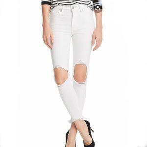 Levi's white denim ripped jeans